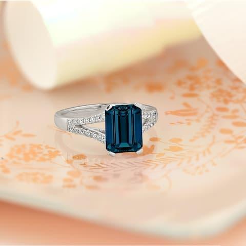 Auriya 2 1/8ct Fancy Emerald-cut London Blue Topaz and Diamond Engagement Ring 1/4ctw 14k Gold