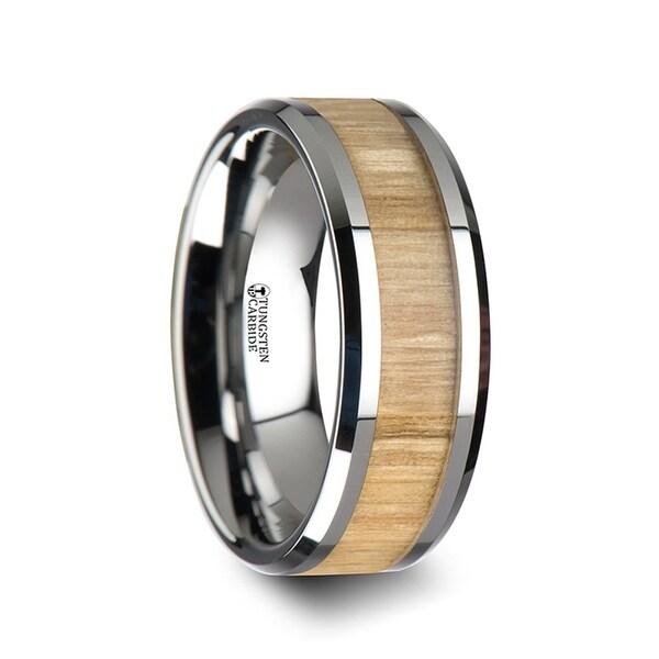 Samara Tungsten Ring With Polished Bevels And Ash Wood Inlay