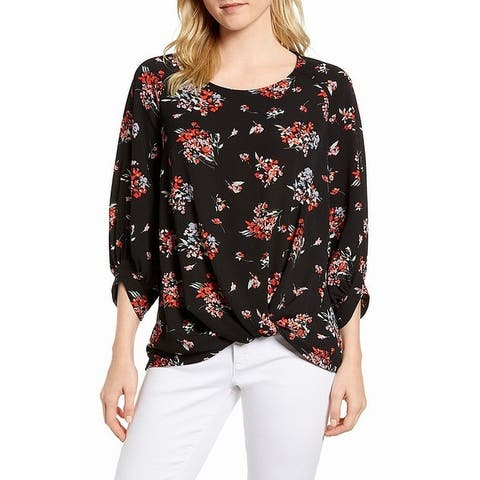 Gibson Black Women's Size Large L Floral Bouquet Print Blouse