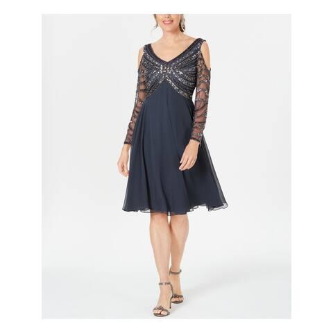 JKARA Gray Long Sleeve Knee Length Dress 16
