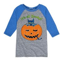 Pete The Cat It's All Spooky - Youth Raglan - ath heather/royal