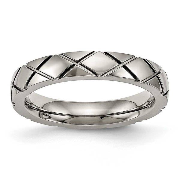 Titanium Polished Criss Cross Grooved Ring (4 mm)