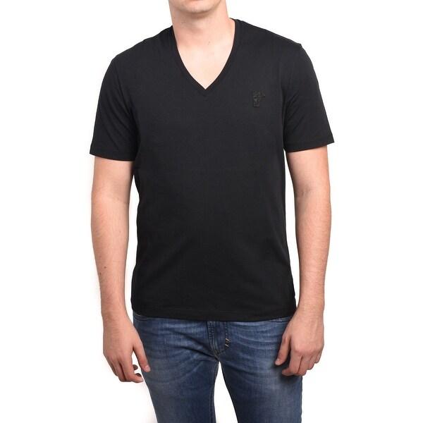 Versace Collection Men Medusa V-Neck Tee T-Shirt Black