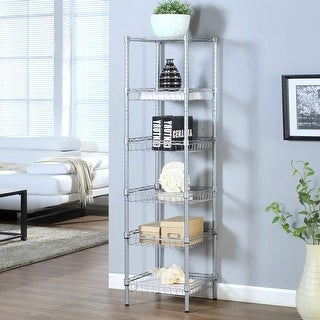 LANGRIA Heavy Duty 6-Tier Shelving Units, Storage Rack Corner Organization Shelf, Silver
