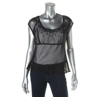 Nanette Lepore Womens Sheer Embellished Dress Top - 2