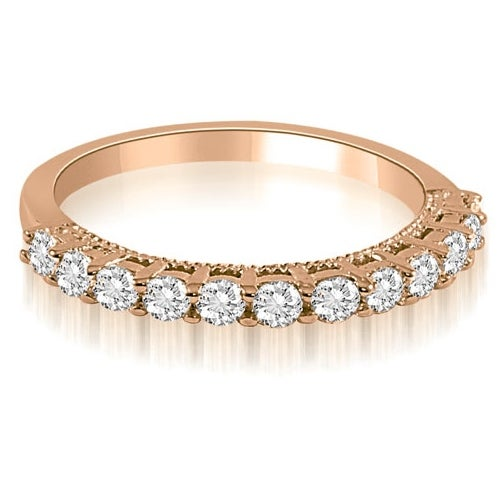 0.60 cttw. 14K Rose Gold Prong Set Round Cut Diamond Wedding Band