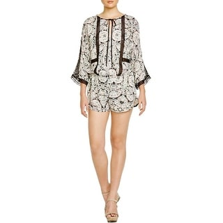 Twelfth St By Cynthia Vincent Womens Romper Lace Inset Printed