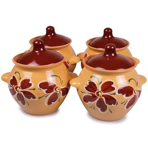 STP Goods Beige Flower Stoneware Ramekins Set of 4