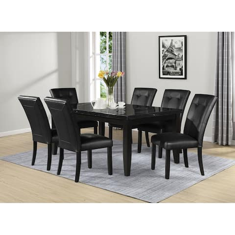 Porch & Den Merkem Rectangular Black Marble Top 7-Piece Dining Set