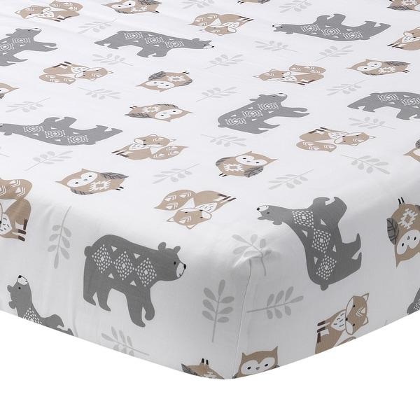 Gray Lambs /& Ivy Woodland Forest Animal Nursery 5-Piece Baby Crib Bedding Set
