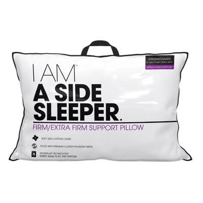 I AM A Side Sleeper Hypoallergenic Down Alternative Never Flat Pillow - White