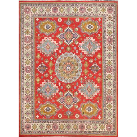 "Geometric Traditional Kazak Oriental Area Rug Wool Handmade Carpet - 8'1"" x 9'8"""