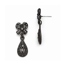 Black IP Downton Abbey Black Glass Post Drop Earrings