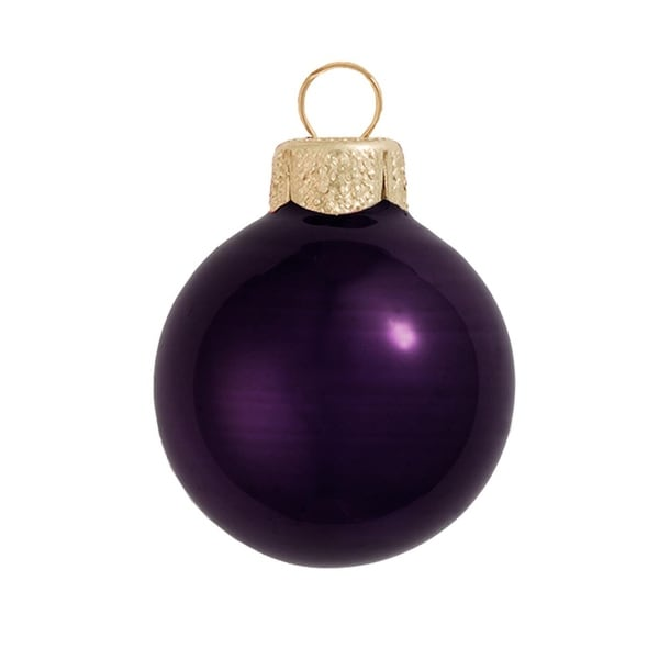 "8ct Pearl Purple Glass Ball Christmas Ornaments 3.25"" (80mm)"
