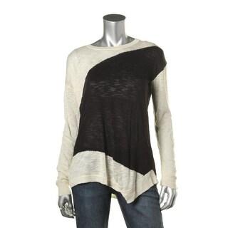 Kensie Womens Jewel Neck Colorblock Pullover Sweater