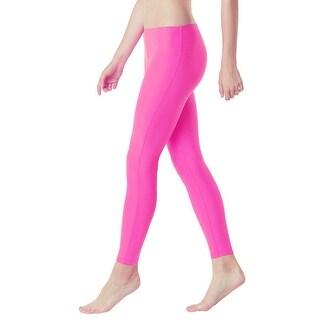 Tesla FYP41 Women's Mid-Waist Ultra-Stretch Yoga Pants - Solid Neon Pink