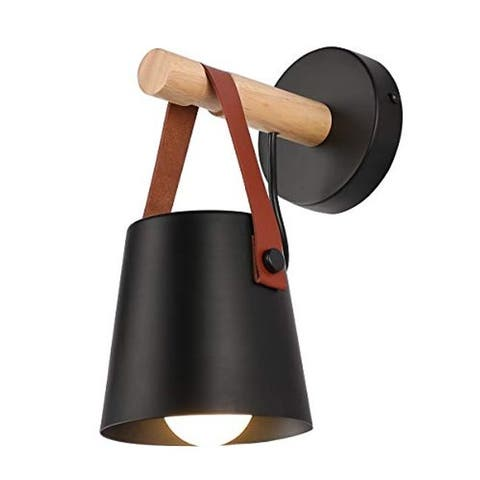 Industrial black wall sconce wood vanity wall lantern