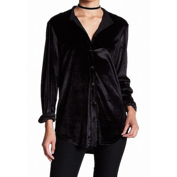 b842bec4e Shop 14TH & Union Black Womens Size Large L Velvet Button Down Shirt ...