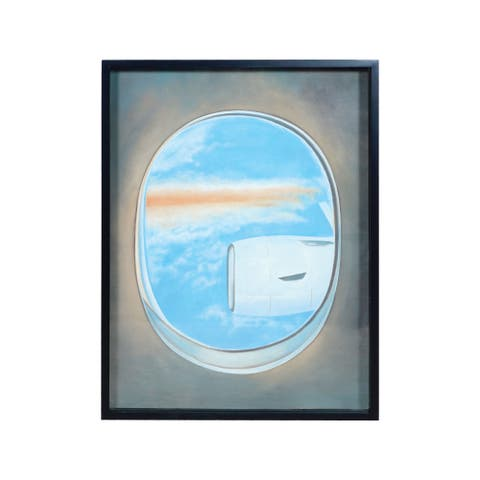 "Dimond Home 7011-1390D Plane Window 40"" x 30"" ""Plane Window IV"" Framed Painting on Gallery Stretched Canvas - Blue"