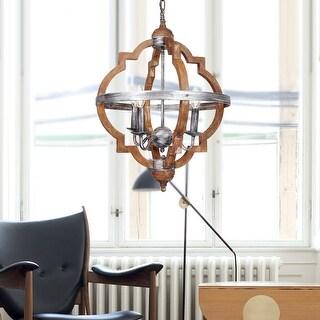 Rustic 4-Light Distressed Wood Chandelier