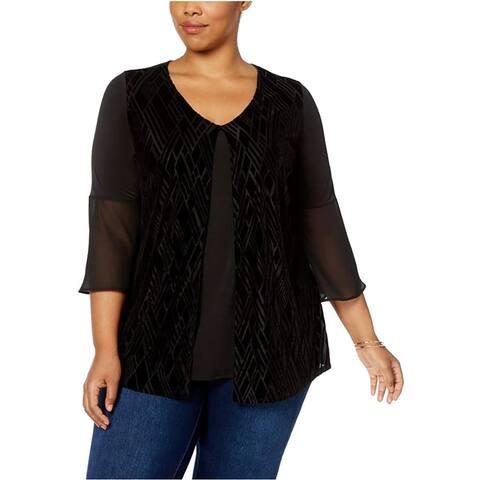 NY Collection Black Womens Size 2X Plus Velvet Burnout Blouse