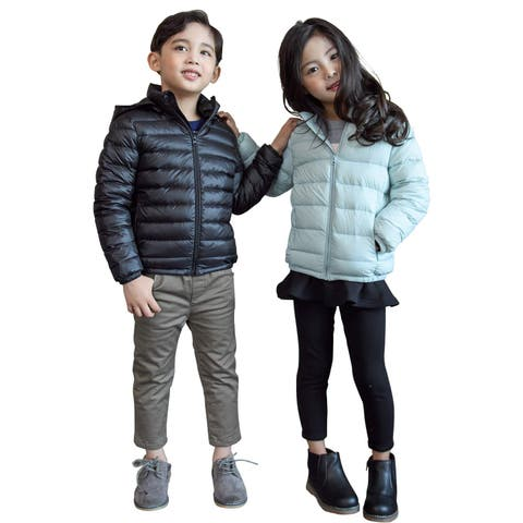 CUNYI Boys Girls Hooded Portable Lightweight Down, Navy Blue, Size 4-5 T/110 - 4-5 T/110