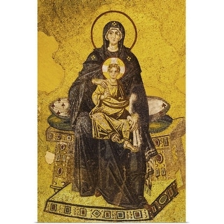 """""""Turkey, Istanbul, Mosaic of Virgin Mary and Jesus in Haghia Sophia Mosque"""" Poster Print"""