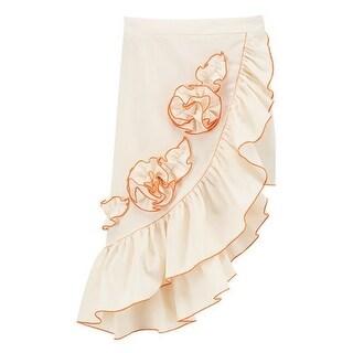 Girls Ivory Orange Rosette Accent Asymmetric Hem Ruffle Skirt