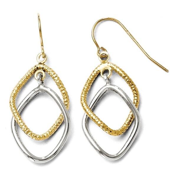 10k Two-Tone Gold Shepherd Hook Dangle Earrings