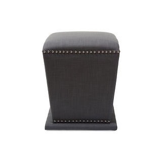 Baxton Studio Beverly Modern and Contemporary Grey Fabric Upholstered Nail head Ottoman Stool