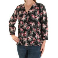 Womens Black Floral Long Sleeve V Neck Casual Top  Size  16