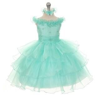 Rain Kids Baby Girls Mint Organza Off Shoulder Flower Girl Dress 6-24M