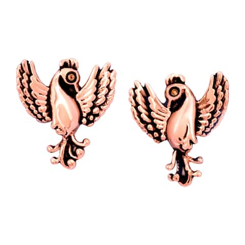 Chrysalis Charmed 14K Rose Gold-Flashed Brass Phoenix Stud Earrings - Pink