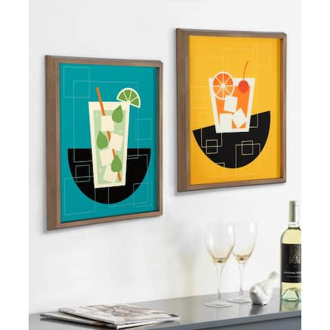 Kate and Laurel Blake Mojito Framed Printed Glass by Amber Leaders Designs