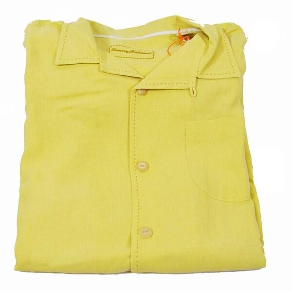 Tommy Bahama Solid Pigment Hamilton Medium Dark Cream Short Sleeve Shirt