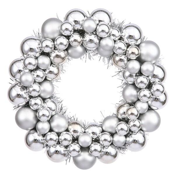 """12"""" Silver Colored Ball Wreath"""