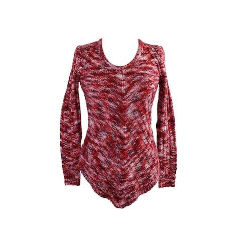 Ultra Flirt Juniors Berry Space-Dyed Mitered-Hem Tunic Sweater M