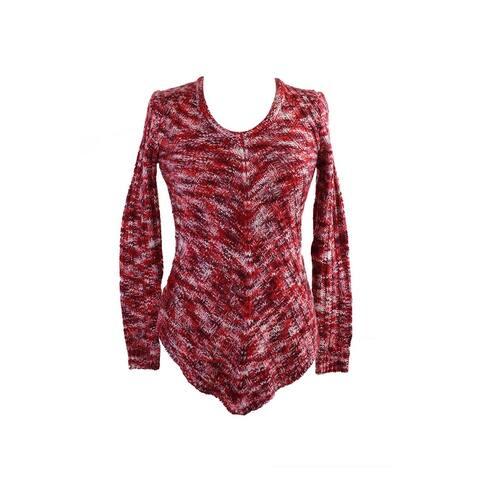 Ultra Flirt Juniors Berry Space-Dyed Mitered-Hem Tunic Sweater XS