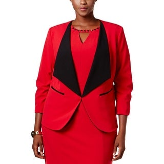 Nine West Womens Plus Collarless Blazer Wide-Lapel Ruched