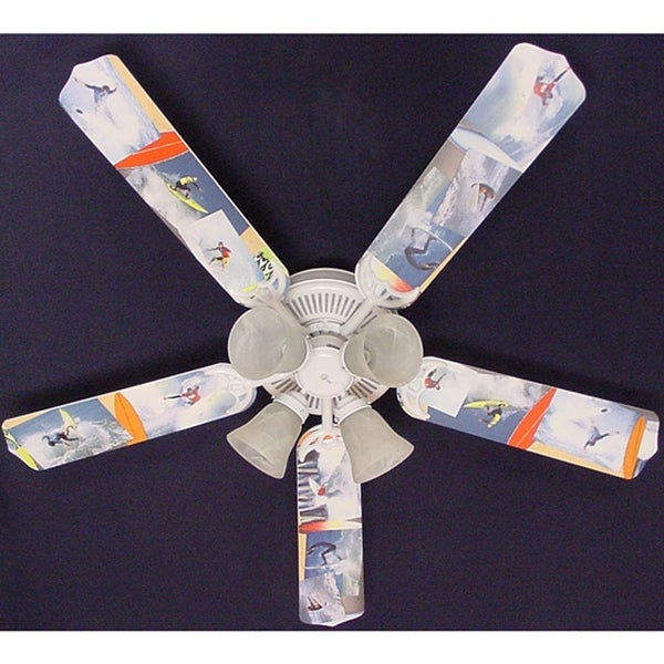 Radical Surfing Print Blades 52in Ceiling Fan Light Kit - Multi
