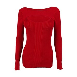 INC International Concepts Women's Cold Chest Ribbed Sweater