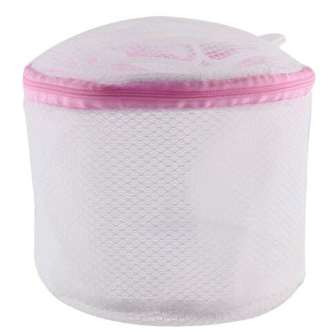 Laundry Zip up Lingerie Socks Bra Underwear Washing Basket Bag White Pink