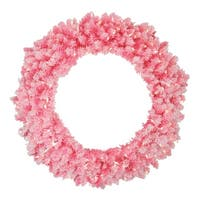 Pre-Lit Flocked Pink Artificial Christmas Wreath - 36 Inch, Clear Lights