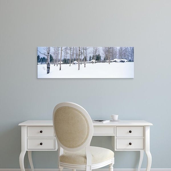 Easy Art Prints Panoramic Images's 'USA, Montana, fence, aspen, snow, winter' Premium Canvas Art