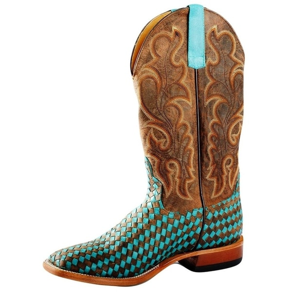 Horse Power Western Boots Mens Weave Detailed Turquoise Brown