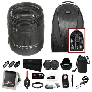 Sigma 18-250mm f/3.5-6.3 Lens Canon EF Mount w/ Accessory Bundle - Black