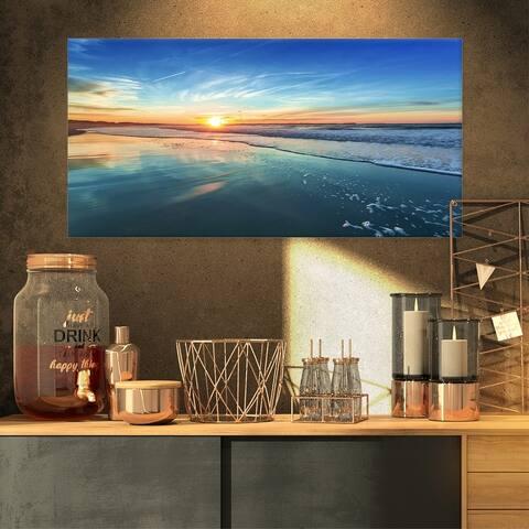 Blue Seashore with Distant Sunset - Seashore Canvas Wall Art