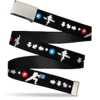 Blank Chrome Buckle Ryu Silhouette Moves Black White Red Blue Webbing Web Belt