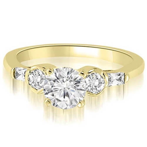 1.10 cttw. 14K Yellow Gold Round And Baguette Cut Diamond Engagement Ring