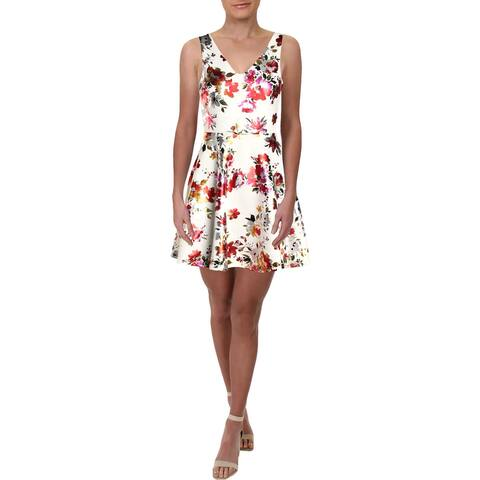Aqua Womens Party Dress Floral Fit & Flare - Off White
